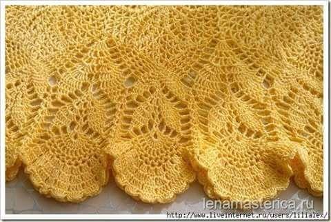 Vestido em Crochê Amarelo com Gráficos - Katia Ribeiro Moda e Decoração Handmade