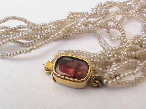 Antique Georgian Natural Seed Pearl 15ct Gold Almandine Garnet Clasp Necklace