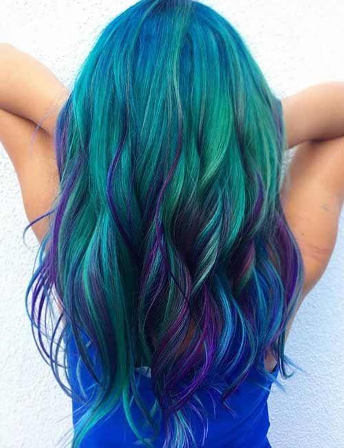 25 Mesmerizing Mermaid Hair Color Ideas Mermaid Hair Color Hair Styles Mermaid Hair