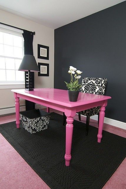 Cute for an office: Bright Color, Home Office, Craftroom, Kitchen Table, Black Wall