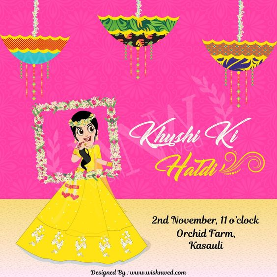 Make Your Haldiceremony More Delight With This Pleasing Colorful Hald Indian Wedding Invitation Cards Cartoon Wedding Invitations Digital Invitations Wedding