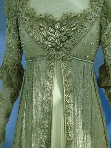 """I just love this dress: This gown is Regency inspired, with some 16th century inspiration in the sleeve and neckline area.  Drew Barrymore wears this dress in cream in the movie """"Ever After"""" 1998."""