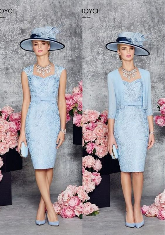 Light blue sheath short knee length mother of the bride for Coat and dress outfits for wedding guests