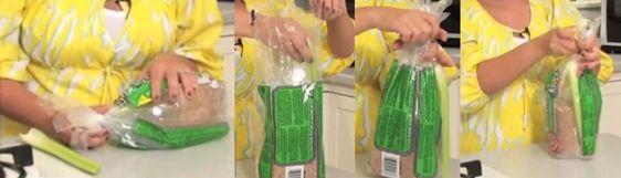 Coloque um pedaço limpo e seco de aipo fresco dentro do pacote de pão. Conserve em temperatura ambiente. Vai durar bem mais.