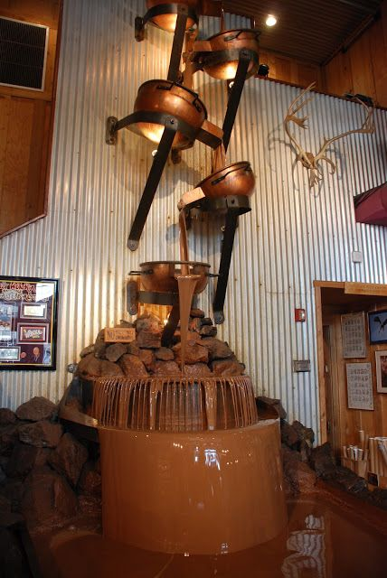 Chocolate Waterfall at Alaska Wild Berry Products..........This is a dream come true!! LOL!!!