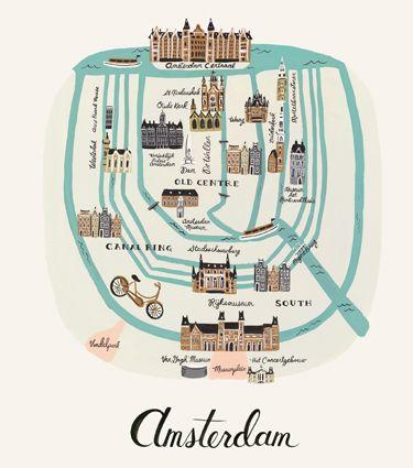 Amsterdam de Anna Bond (de Rifle Paper Co.) carte simplifiée d'Amsterdam  fait à la gouache 11x14 ou 18x24