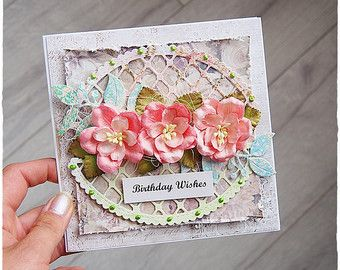 Handmade love you card 3d greeting card pink salmon flower for handmade love you card 3d greeting card by maremismallart on etsy bookmarktalkfo Choice Image