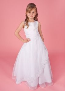 Molly Communion Dress by Linzi Jay  -  Age 6, 7, 8, 9, 10, 11, 12,13,14 years -  Full Length Sleeveless Dress with Satin & Organza Lace Trimmed Skirt