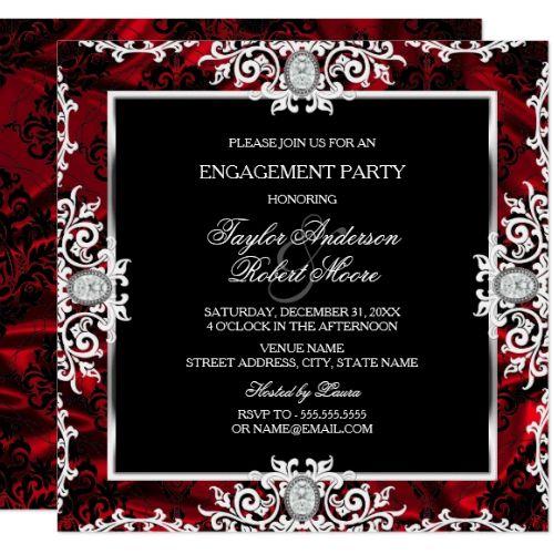 Black White Red Diamond Damask Engagement Party Invitation