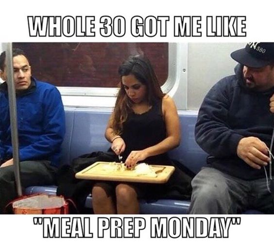 When you neglect to prep on Sunday and realize the next morning that it was a huge mistake. About that meal prep life! #Whole30 #Whole30Probs  Thank you @barefootprovisions for the meme!: