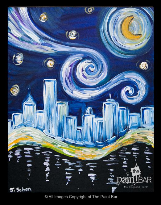 Starry night over boston painting jackie schon the for Wine and paint boston