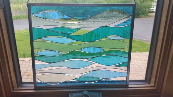 Sea and Surf Stained Glass Panel by SandhillShores on Etsy