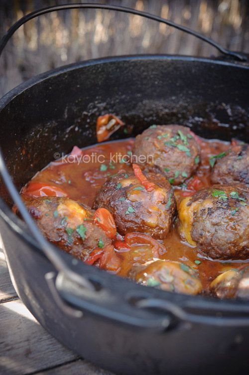 Mountain Meatballs. Meatballs filled with cheddar and simmered in a wonderful chili sauce.