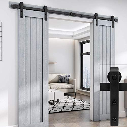 Easelife 8 Ft Double Door Sliding Barn Door Hardware Trac Https Www Amazon Com Dp B01hzk6bn2 Ref Cm Diy Sliding Barn Door Diy Barn Door Barn Doors Sliding