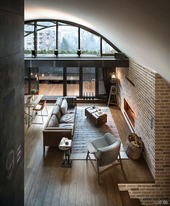 I love this home!.  This Déco loft industriel- un studio super en brique et bois à Sofia