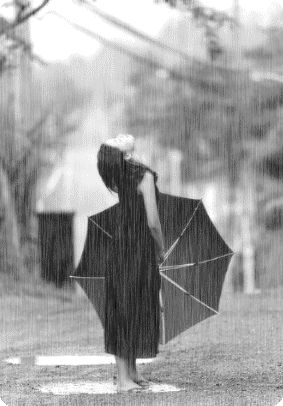 Let go and feel the rain. Did you know that Kurosawa used to put dye in his rain so it would show up better on film?