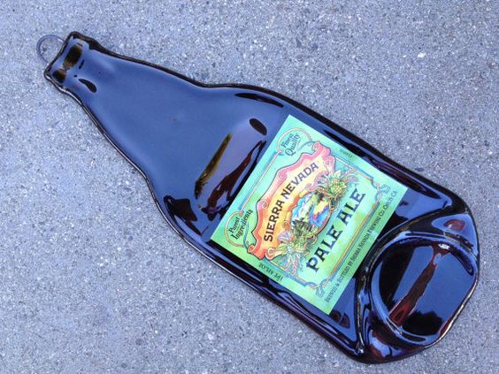 $15.00 Sierra Nevada Pale Ale Slumped Melted Flattened Flat Beer Bottle Cheese Tray Spoon Rest Glass Plate Eco Gift