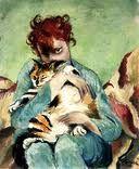 Kasia von Szadurska (1886 - 1942)  Self Portrait with Cat