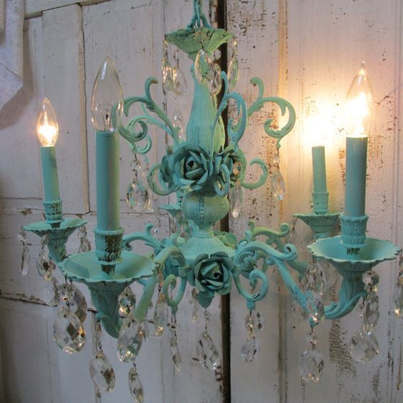 Ornate aqua chandelier with crystals embellished with cabbage roses shabby cottage chic lighting home decor anita spero