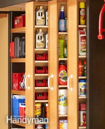 Garage storage sliding shelves and garage on pinterest - Space saving garage shelves ideas must have ...