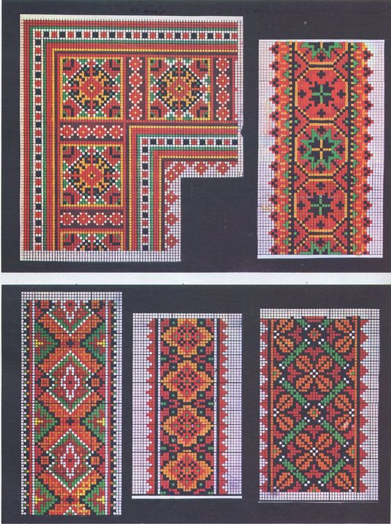 Ukrainian folk embroidery hutsul cross stitch band