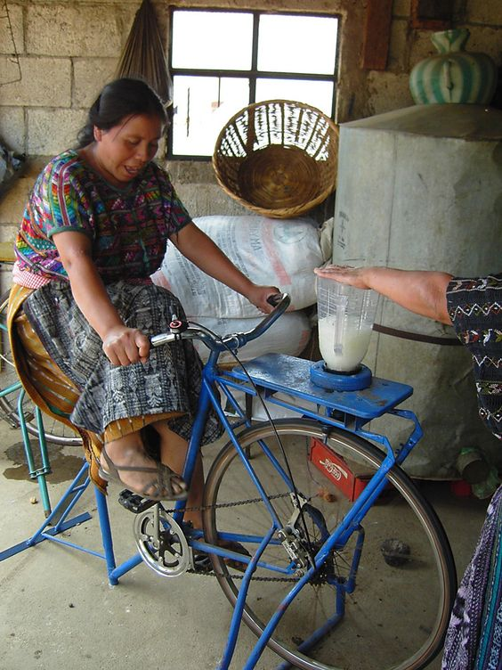 recycles bicycles and builds pedal-powered machines called bicimáquinas, to support and catalyze small-scale, sustainable local enterprises and businesses. By Asociación Maya Pedal