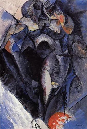 Figure (1912) by Italian artist Umberto Boccioni (1882-1916). Painted in Milan, Italy.