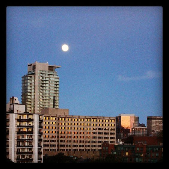 Toronto + sunset + moon = awesome