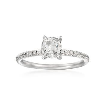 Ross-Simons - Henri Daussi .86 ct. t.w. Diamond Engagement Ring in 18kt White Gold - #817988