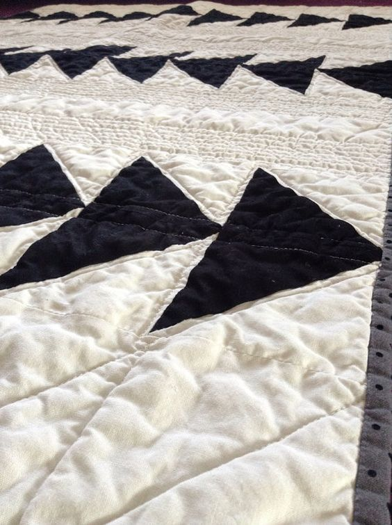 Modern Arrow Quilt with Mustache fabric by LittleCottonTree, $125.00