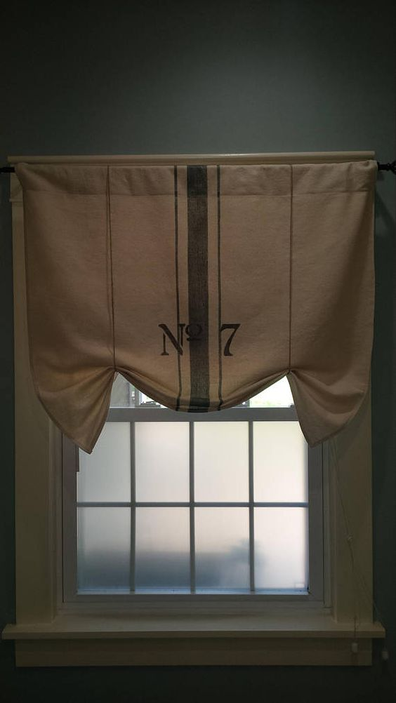 SEED SACK Valance Farmhouse Mercantile French Floral Unlined creme Park Designs