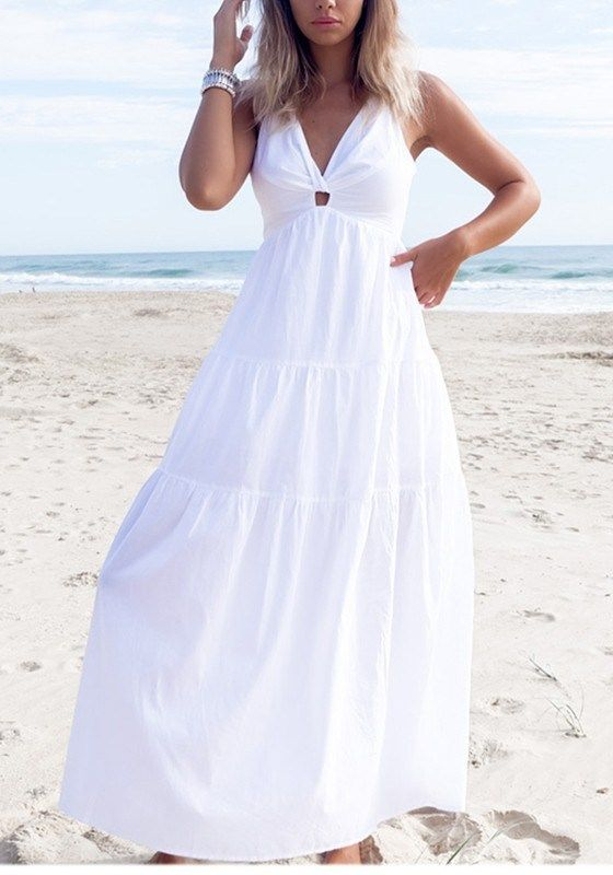 White Draped Halter Neck Backless V-neck Bohemian Elegant Maxi Dress