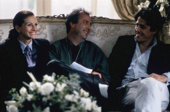 Julia Roberts, le réalisateur Roger Michell, et Hugh Grant, Coup de foudre à Notting Hill.