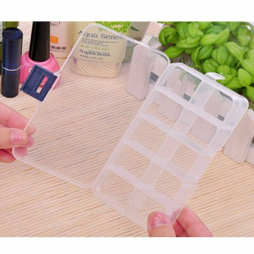 Small Plastic Storage Box With 10 Compartments And Adjustable Dividers Pack Of 5 Clear Orga Small Plastic Storage Boxes Plastic Box Storage Craft Storage Box
