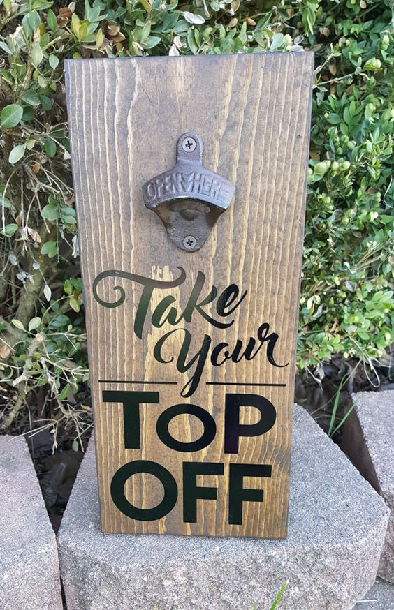Take Your Top Off Bottle Opener Wall Plaque- Black Bottle, Tops