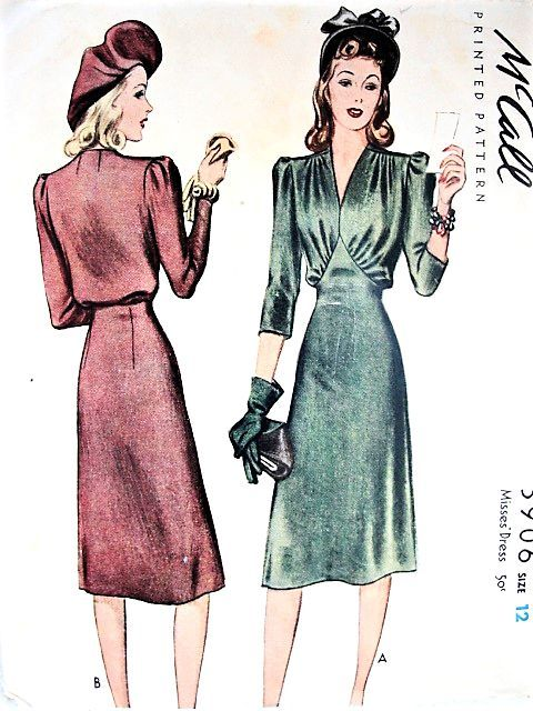1940s Beautiful Day Or Dinner Dress Pattern Mccall 3906 Gorgeous Draped Bodice V Neckline Bust 30 V Vintage Dress Patterns Vintage Fashion 1940s Dress Pattern