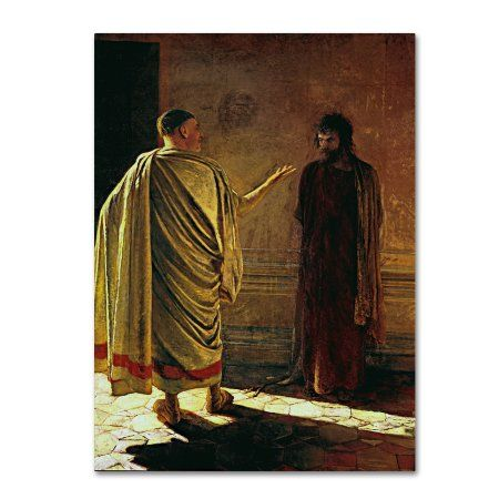 Trademark Fine Art 'What Is Truth (Christ And Pilate)' Canvas Art by Nikolai Ge, Gold