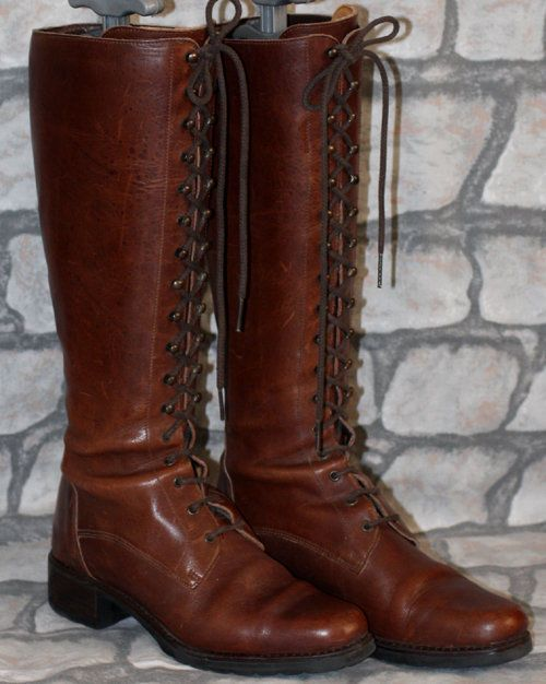 Victorian lace, Knee boots and Brown leather on Pinterest