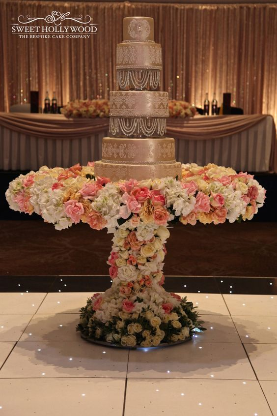Luxury Damask & Pearls Large Wedding Cake in London for a Sikh wedding reception in London.