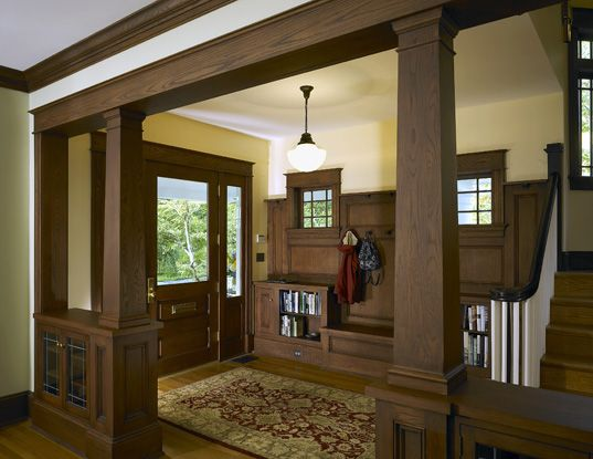 Arts crafts craftsman bungalow home foyer for Arts and crafts home magazine