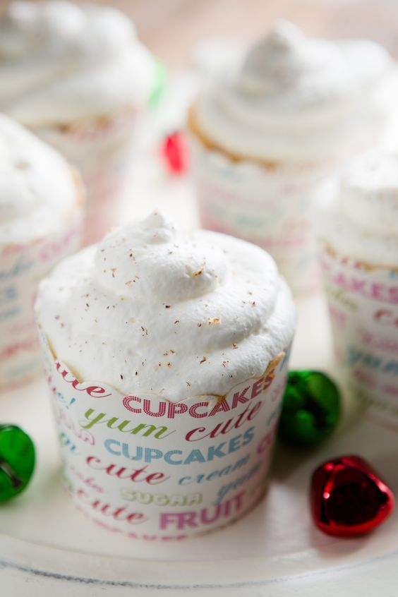 Cappuccino Eggnog Angel Food Cupcakes (from Cupcake Project - cupcakeproject.com)