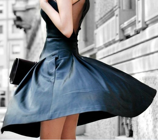 black leather dress/mesh back- very French