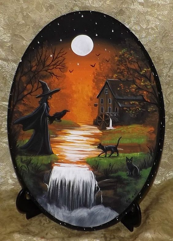 Hand Painted Wood Plaque Black Cat Witch Raven Vintage Style Halloween Folk Art #Realism This is the most beautiful work!!: