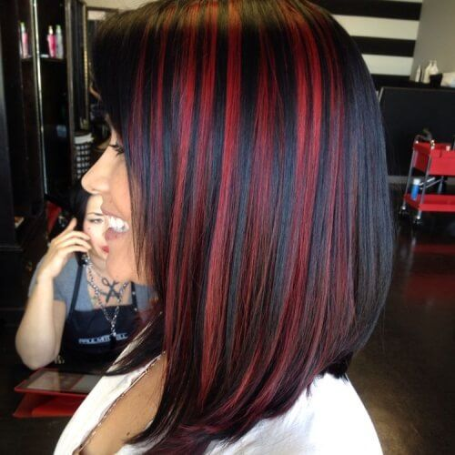 Red Streaks On Black Hair Hair Color For Black Hair Black Red Hair Black Hair With Highlights