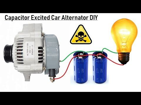 Self Excite A 12v Car Alternator With A Capacitor Bank Diy Full Explanation Wiring And Connection Youtube Car Alternator Alternator Free Energy Generator