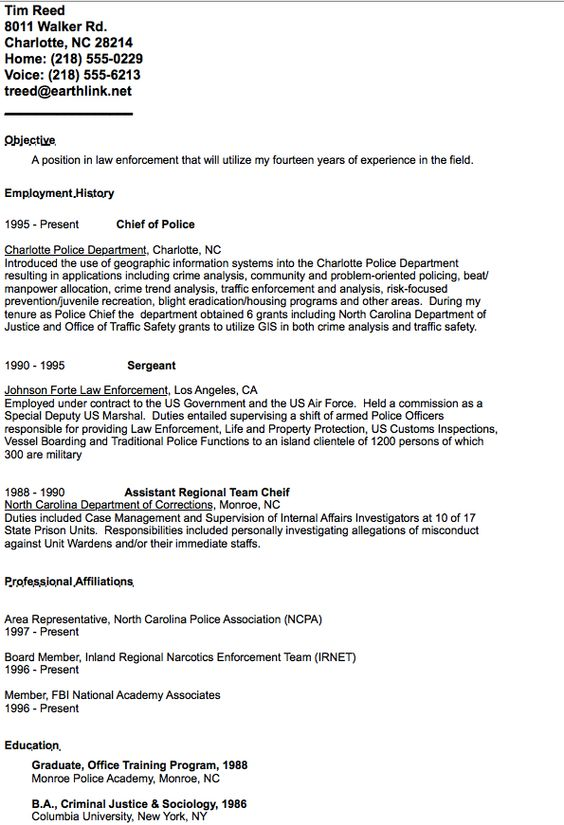 Example Of Chief Police Resume  HttpResumesdesignComExample
