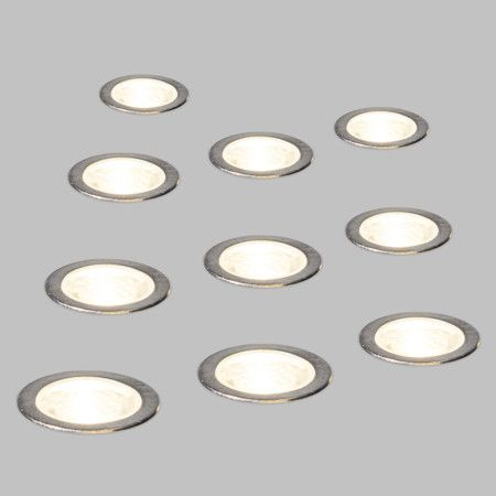10er LED-Einbauset Cosi Mini: Schönes Set von 10 kleinen LED-Einbauleuchten. Komplett mit Treiber, Kabel und LED, somit direkt einsatzbereit. #Außenbeleuchtung #Einbaustrahler #LED
