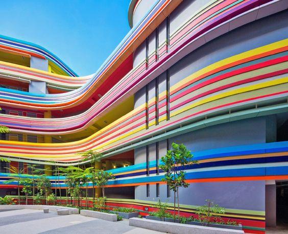 Nanyang Primary School and Kindergarten, primary school in Singapore, colorful school in Singapore, rainbow-colored facade in Singapore