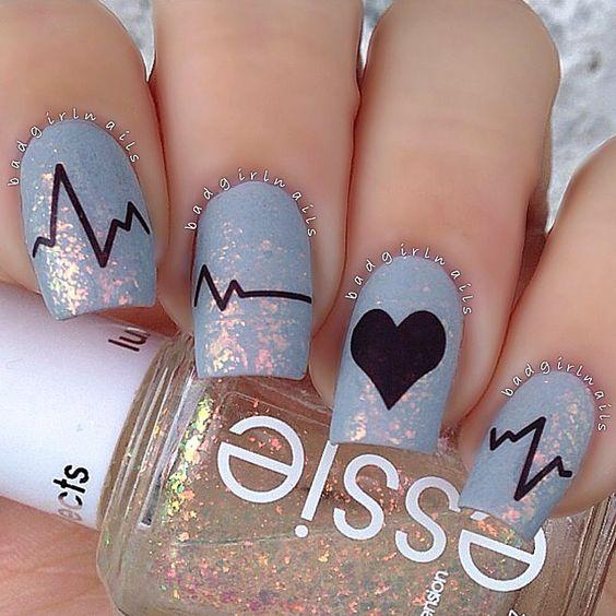 Medical. Heart nails. Essie. romantic. love. Nail Art. Nail Design. Polishes. Polish. Polished. Instagram  by @badgirlnails