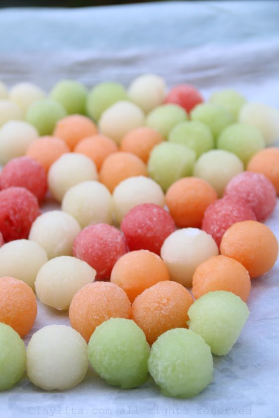 Melon ball ice cubes  www.tablescapesbydesign.com https://www.facebook.com/pages/Tablescapes-By-Design/129811416695